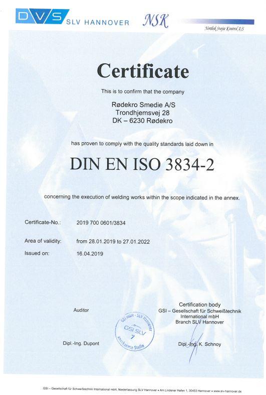Rødekro Cert. DIN EN ISO 3834-2